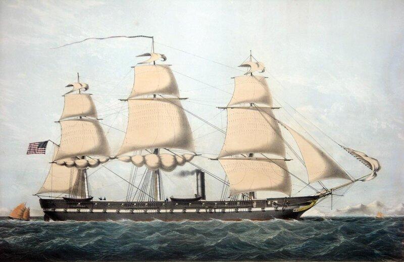 Hampton Roads Naval Museum: 1857 Print of USS Minnesota