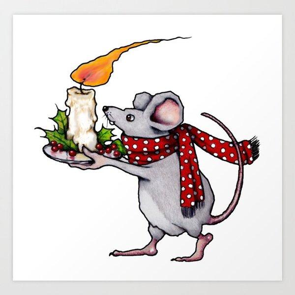 Christmas Mouse Carrying Burning Candle, Illustration Art Print by joyart    Society6