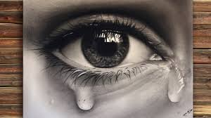 Painting of a realistic Eye with teardrop (speed drawing) - YouTube