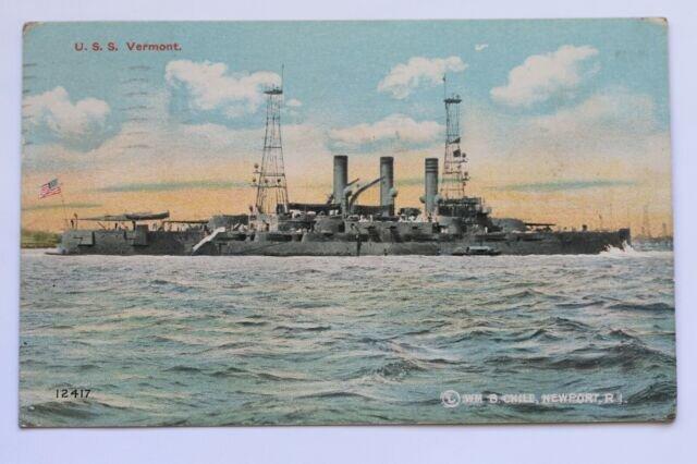 Old postcard U.S.S. VERMONT, Battleship, Navy, 1911   eBay