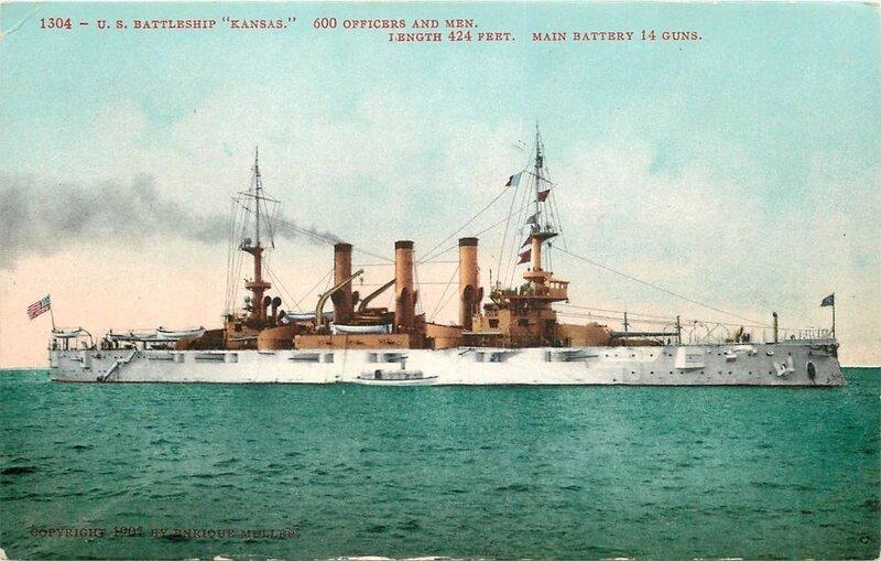 The Great White Fleet U.S. Navy Battleship USS KANSAS 1908 ...