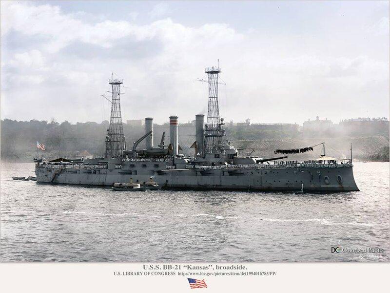 USS Kansas (BB-21) Broadside View Colorized Photo by StephenBarlow ...