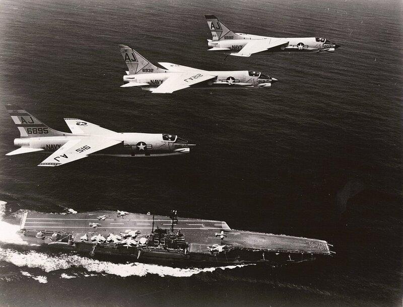 F-8_Crusaders_fly_over_USS_Forrestal_(CV