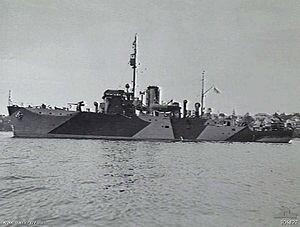 HMIS Bombay in Sydney Harbour in 1942