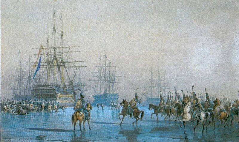 Cavalry capturing the Dutch fleet at the battle of Den Helder